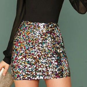 Sequins mini skirt multicolored